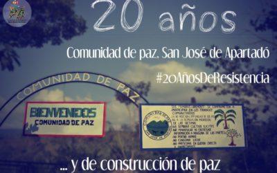 20 años de resistencia de la Comunidad de paz de San José de Apartadó