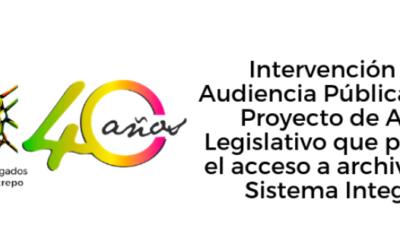 Intervención en Audiencia Pública sobre el Proyecto de Acto Legislativo que prohíbe el acceso a archivos del Sistema Integral