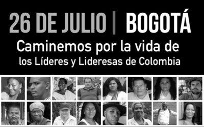 26 de julio: por la vida de las lideresas y los líderes sociales Comunicado de prensa de Defendamos la Paz
