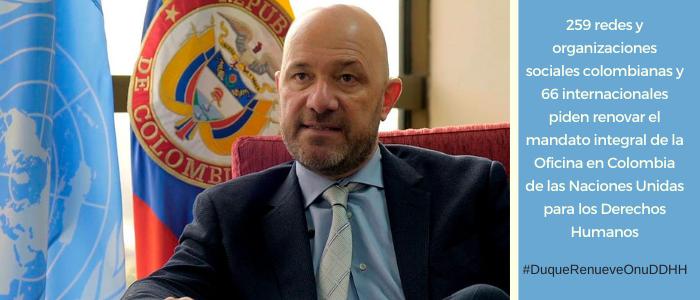 Piden renovar el mandato integral de la Oficina en Colombia de las Naciones Unidas para los Derechos Humanos