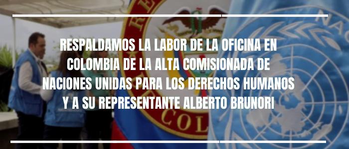 Respaldamos la labor de la Oficina en Colombia de la ONU y a su representante Alberto Brunori