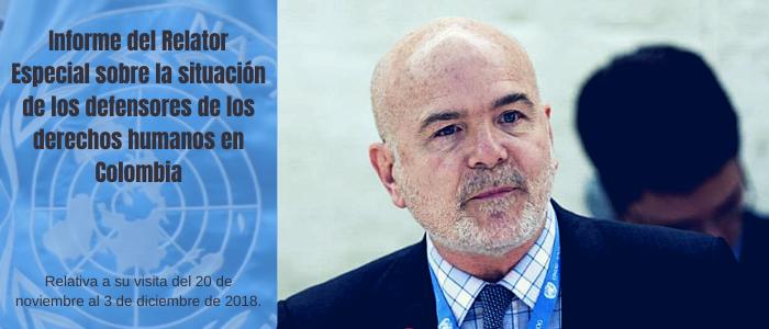 Informe del Relator Especial sobre la situación de los defensores de los derechos humanos