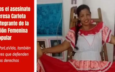 Condenamos el asesinato de la lideresa Carlota Salinas, integrante de la OFP