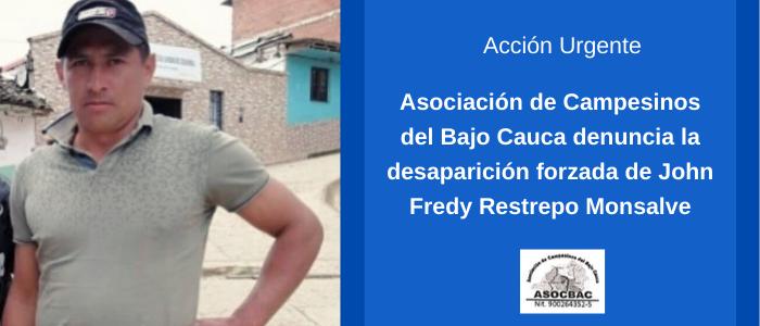 ACCIÓN URGENTE por la desaparición forzada de John Fredy Restrepo Monsalve