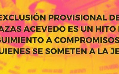 Exclusión provisional de Plazas Acevedo es un hito en seguimiento a compromisos de quienes se someten a la JEP
