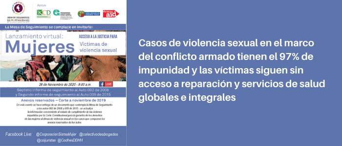 Casos de violencia sexual en el marco del conflicto armado tienen el 97% de impunidad