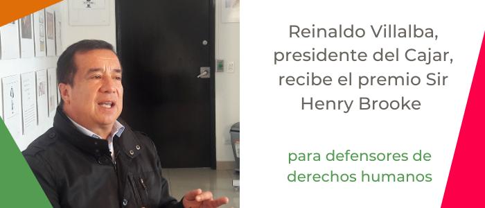 Reinaldo Villalba, presidente del Cajar, recibe el premio Sir Henry Brooke