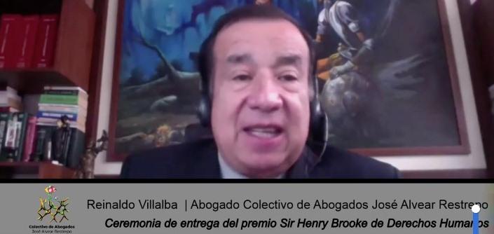 Palabras de Reinaldo Villalba al recibir el premio Sir Henry Brooke de derechos humanos