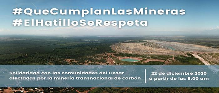 Manifiesto por la dignidad de las comunidades afectadas por la minería transnacional de carbón en el Cesar