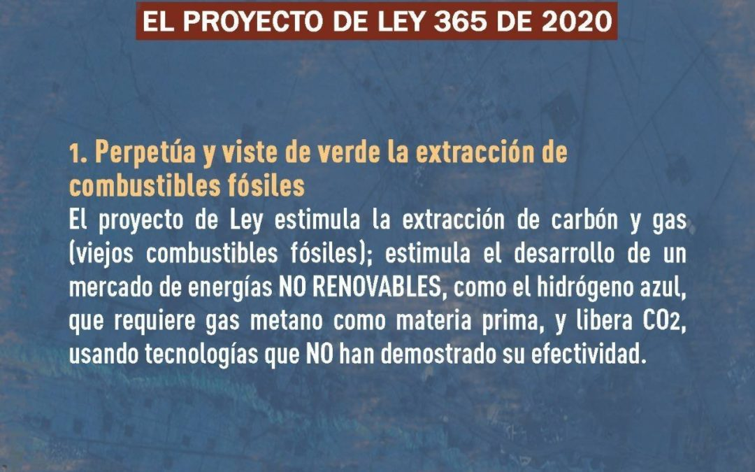 """Organizaciones rechazan el proyecto de Ley de """"transición energética"""" por promover la extracción de energías fósiles"""