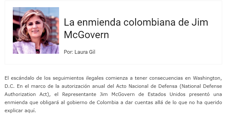 La enmienda colombiana de Jim McGovern