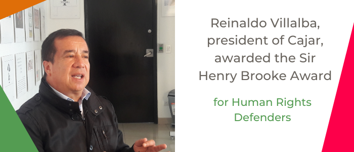 Reinaldo Villalba, president of Cajar, awarded the Sir Henry Brooke Award for Human Rights Defenders